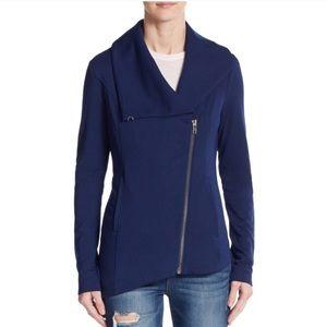 Helmut Lang Asymmetrical Navy Sweater Jacket